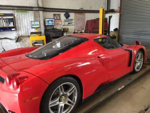 Ferrari in at Station Garage Kintore for specialist services